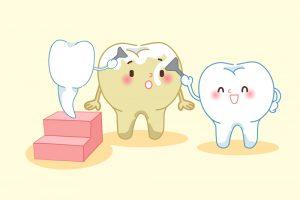汚い歯を磨いてあげる綺麗な歯のイラスト