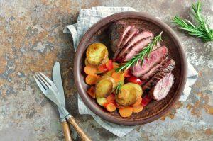 熱々の皿盛り付けられたステーキと野菜