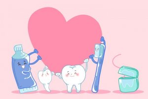 歯ブラシ、歯磨き粉、歯がハートを抱えている