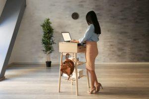 立ちながらパソコン仕事をしている女性