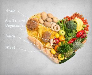 ハート型に並べられた果物や野菜
