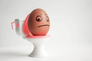 卵が便器が上に座っている