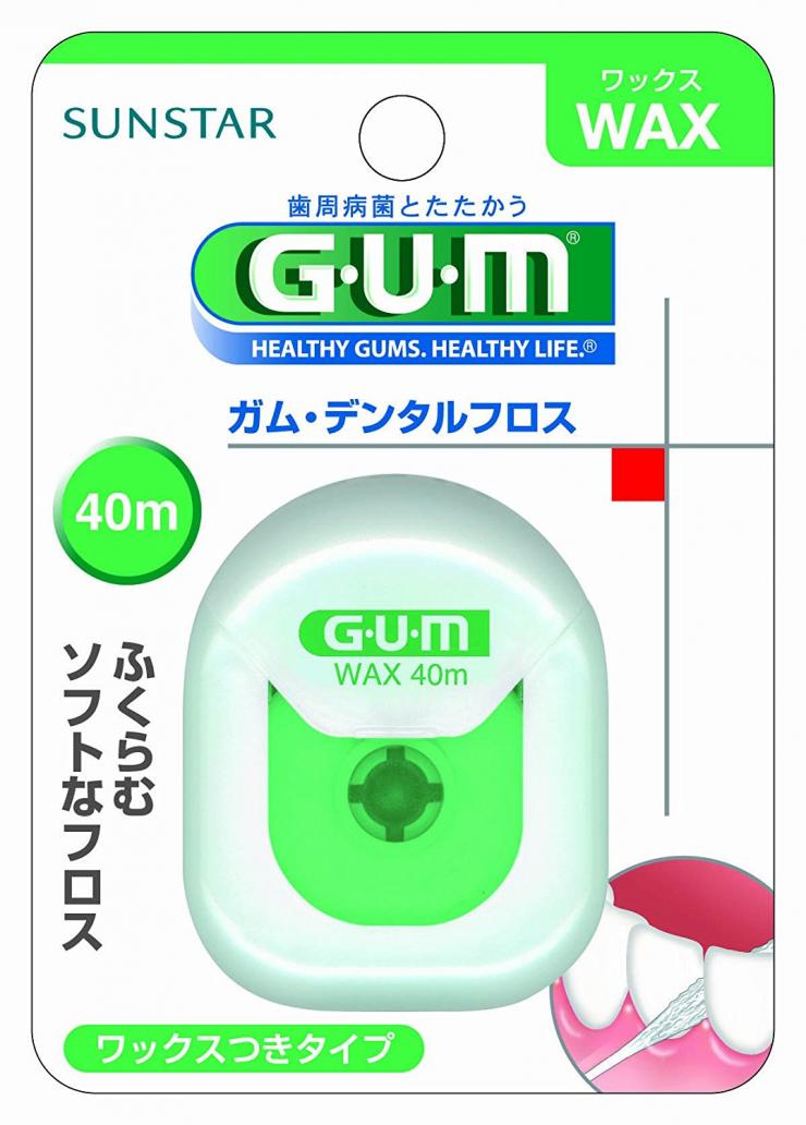 GUM(ガム)・デンタルフロス (ワックス) 40mのパッケージの写真