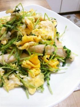 豆苗とササミのふんわり卵炒め