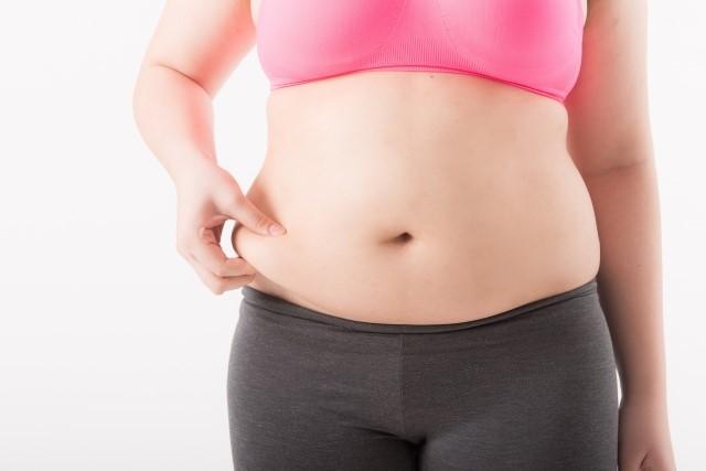 お腹の脂肪を詰まっている女性