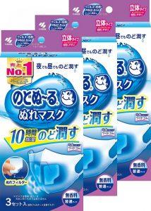 のどぬ~るぬれマスク 立体タイプ 無香料 普通サイズ 3セット ×3個