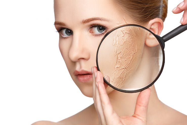 虫眼鏡を通して肌が乾燥している女性